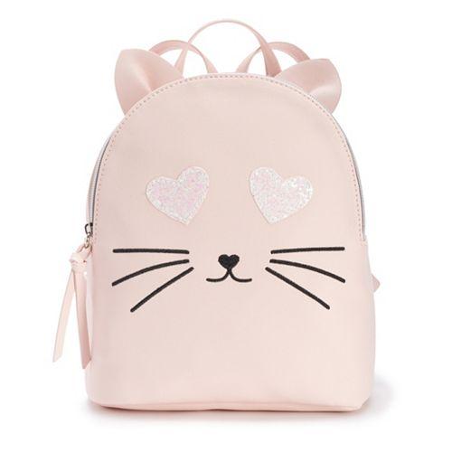 T-Shirt & Jeans Glitter Heart Eyes Cat Mini Backpack