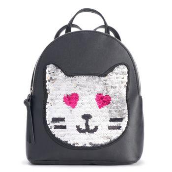 T-Shirt & Jeans Cat Face Flip-Sequin Backpack