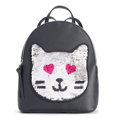 T-Shirt & Jeans Cat Face Flip-Sequin Backpack