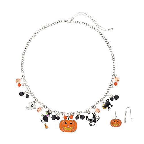Halloween Charm Necklace & Pumpkin Drop Earring Set