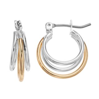 Two Tone Triple Hoop Earrings