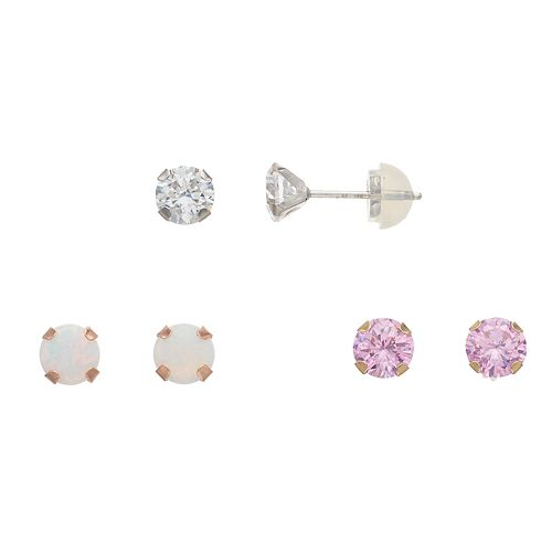 Renaissance Collection 3-Pair 10k Gold Lab-Created White Opal & Cubic Zirconia Stud Earring Set