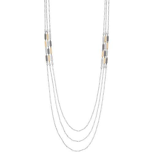 Tri Tone Bar Long Multi Strand Necklace