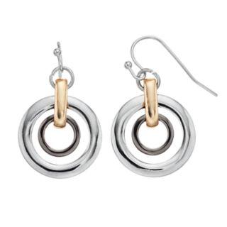 Tri Tone Double Hoop Drop Earrings