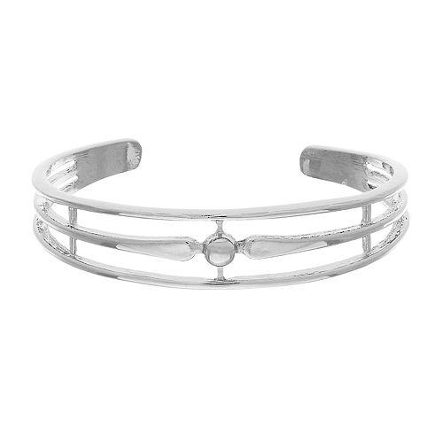 Silver Tone Openwork Cuff Bracelet