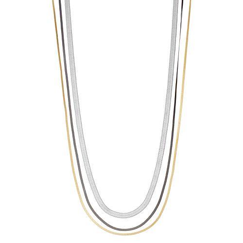 Tri Tone Snake Chain Multi Strand Necklace