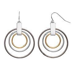 Tri Tone Concentric Hoop Drop Earrings