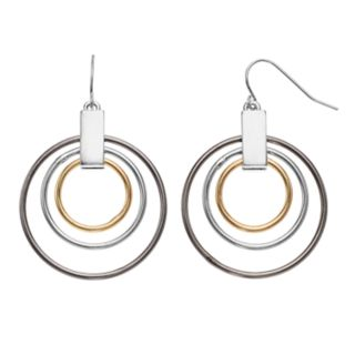 Tri Tone Concentric Hoop Drop Earrings