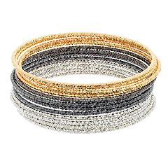 Tri Tone Textured Bangle Bracelet Set