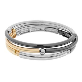 Tri Tone Bead & Bar Stretch Bracelet Set