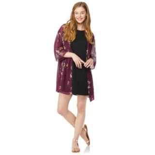 Juniors' Wallflower Solid Swing Dress & Kimono Set