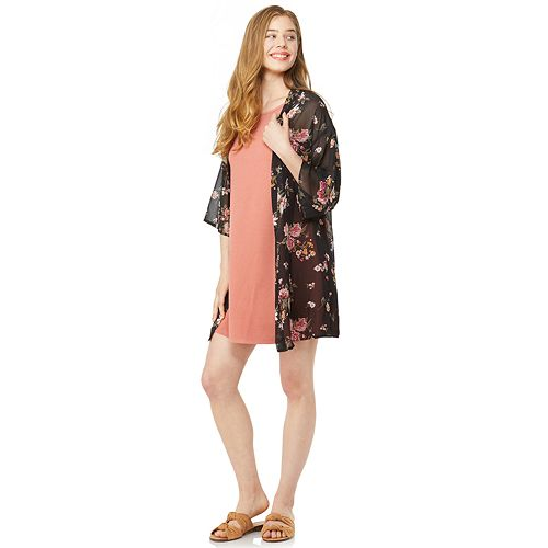 Juniors' Wallflower Solid Swing Dress & Kimono Set
