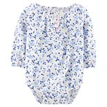 Baby Girl OshKosh B'gosh® Floral Henley Bodysuit