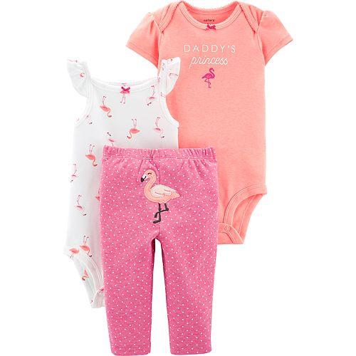 fad41ee37d1 Baby Girl Carter's 3-piece Flamingo Bodysuits & Pants Set