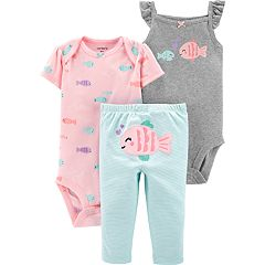Baby Girl Carter's 3-piece Fish Bodysuits & Pants Set