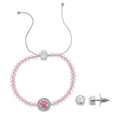 Pet Friends Beaded Bracelet & Stud Earrings Set