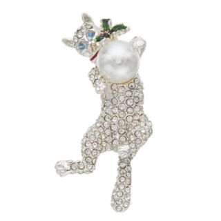 Pet Friends Simulated Pearl & Crystal Cat Pin