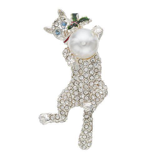 Pet Friends Simulated Pearl & Crystal Cat Pin