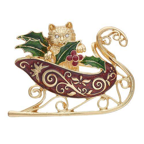 Pet Friends Cat Holiday Sleigh Pin