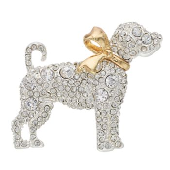 Pet Friends Two Tone Simulated Crystal Dog Pin