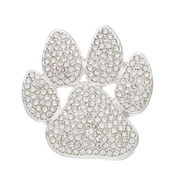 Pet Friends Simulated Crystal Paw Print Pin