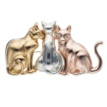 Pet Friends Tri Tone Cats Pin