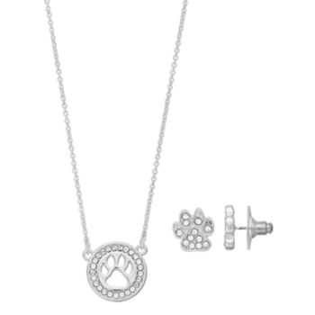 Pet Friends Simulated Crystal Paw Print Circle Pendant & Stud Earring Set
