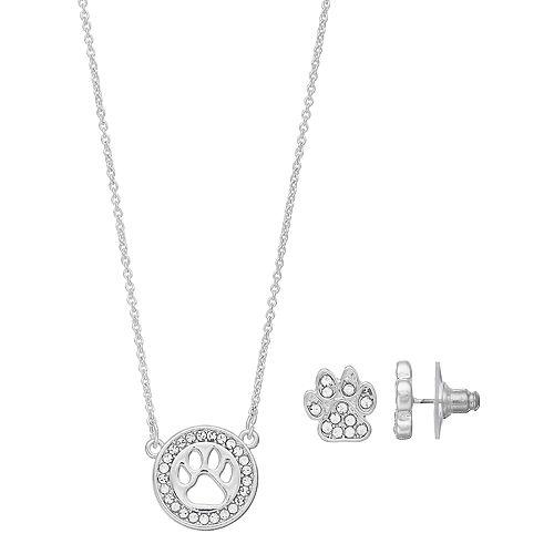 Pet Friends Simulated Crystal Paw Print Circle Pendant & Stud Earring Set