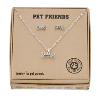 Pet Friends Simulated Crystal Bone Pendant & Stud Earring Set