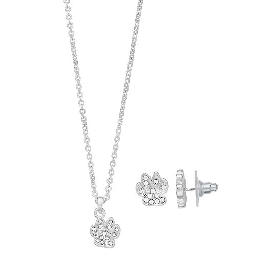 Pet Friends Simulated Crystal Paw Print Pendant & Stud Earring Set