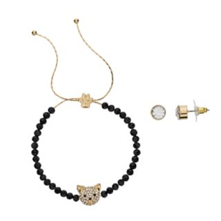 Pet Friends Simulated Crystal Cat Bracelet & Stud Earring Set