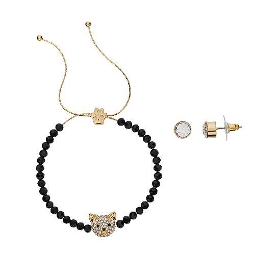 Pet Friends Simulated Crystal Cat Bracelet & Stud Earring Set