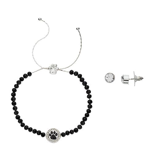 Pet Friends Simulated Crystal Paw Print Bracelet & Stud Earring Set