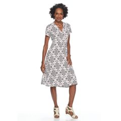 Petite Croft & Barrow® Surplice Short Sleeve Dress