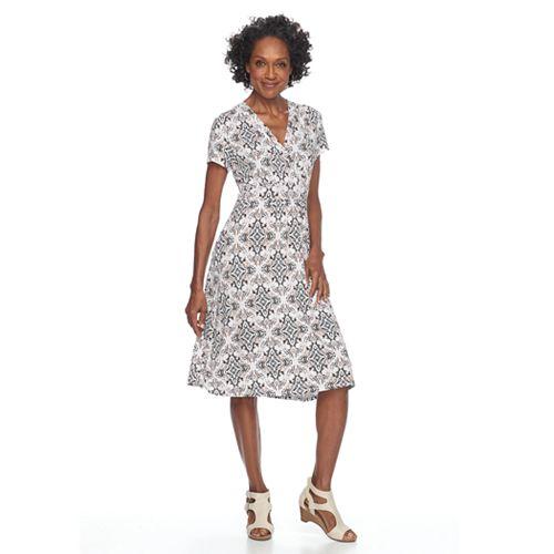 Petite Croft & Barrow® Surplice Short Sleeve Dress