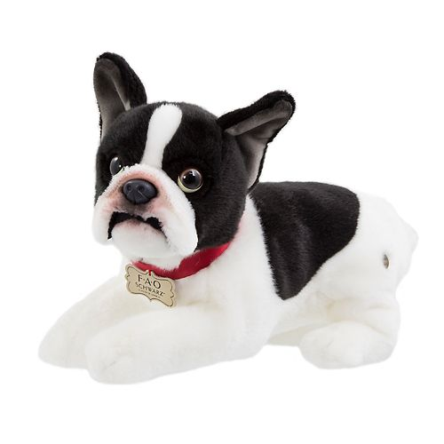 FAO Schwarz 11-inch Puppy Lying French Bulldog Toy Plush