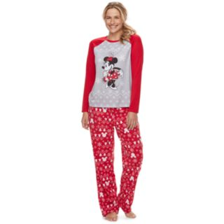 Disney's Minnie Mouse Women's Minnie Top & Fairisle Microfleece Bottoms Pajamas Set by Jammies For Your Families