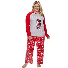 Disney's Minnie Mouse Plus Size Minnie Top & Fairisle Microfleece Bottoms Pajamas Set by Jammies For Your Families