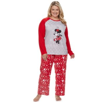 Disney's Minnie Mouse Plus Size Minnie Top & Fairisle Microfleece Bottoms Pajamas Set by Jammies For Your Families