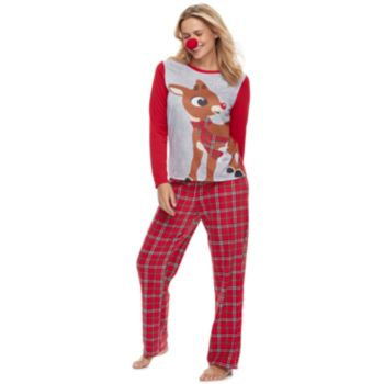 Women's Jammies For Your Families Rudolph the Red-Nosed Reindeer Top & Plaid Bottoms Pajama Set with Red Nose Accessory