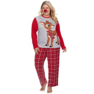 Plus Size Jammies For Your Families Rudolph the Red-Nosed Reindeer Top & Plaid Bottoms Pajama Set with Red Nose Accessory