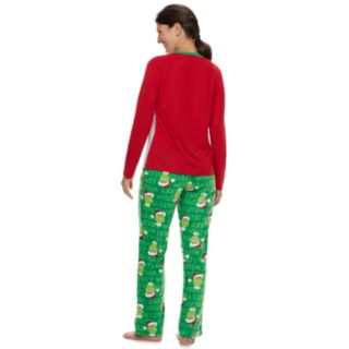 "Women's Jammies For Your Families How the Grinch Stole Christmas Grinch ""This is Me Being Jolly"" Top & Microfleece Bottoms Pajama Set"