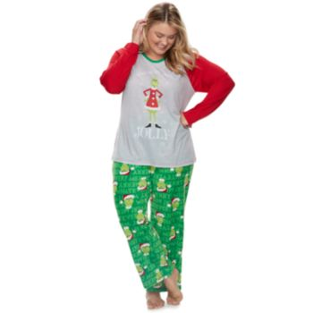 """Plus Size Jammies For Your Families How the Grinch Stole Christmas Grinch """"This is Me Being Jolly"""" Top & Microfleece Bottoms Pajama Set"""