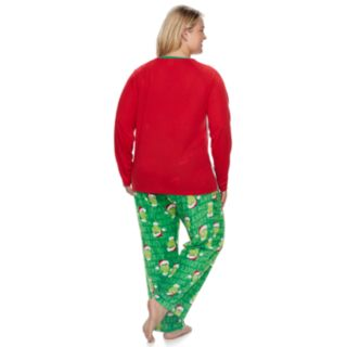 "Plus Size Jammies For Your Families How the Grinch Stole Christmas Grinch ""This is Me Being Jolly"" Top & Microfleece Bottoms Pajama Set"