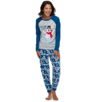 """Women's Jammies For Your Families Frosty the Snowman """"Feeling a Little Frosty"""" Top & Microfleece Bottoms Pajama Set"""