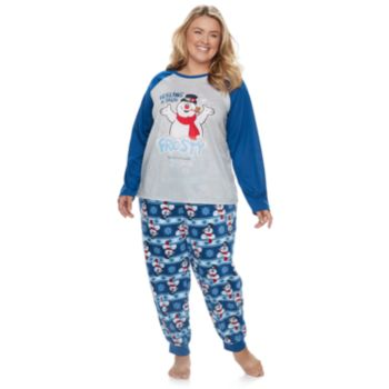 "Plus Size Jammies For Your Families Frosty the Snowman ""Feeling a Little Frosty"" Top & Microfleece Bottoms Pajama Set"