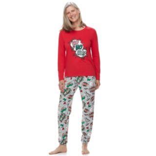 "Women's Jammies For Your Families ""Ho Ho Ho!"" Comic Book Top & Microfleece Jogger Pants Pajama Set"