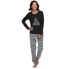 Women's Jammies For Your Families 12 Days of Christmas Top & Five Golden Rings Fairisle Microfleece Jogger Pants Pajama Set