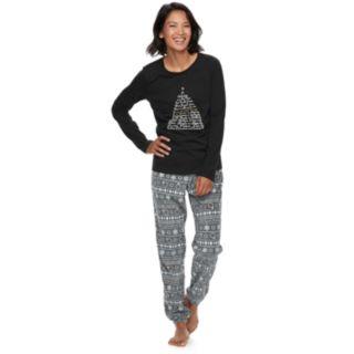 Women's Jammies For Your Families 12 Days of Christmas Top & Five Golden Rings Fairisle Microfleece Jogger Pants Pajama Set