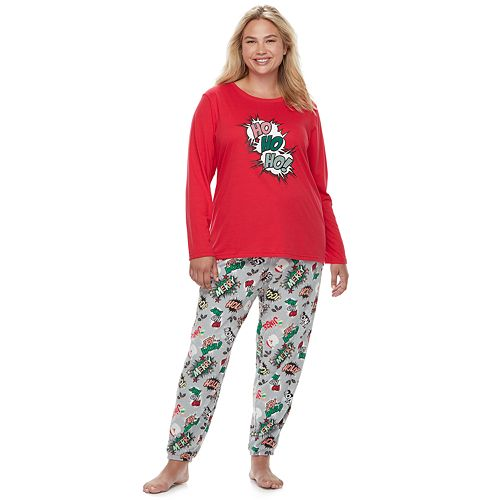 "Plus Size Jammies For Your Families ""Ho Ho Ho!"" Comic Book Top & Microfleece Jogger Pants Pajama Set"